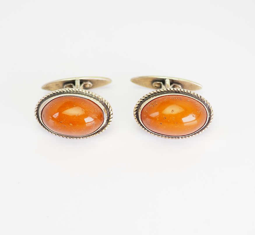 Vintage large Russian Baltic Amber Cufflinks