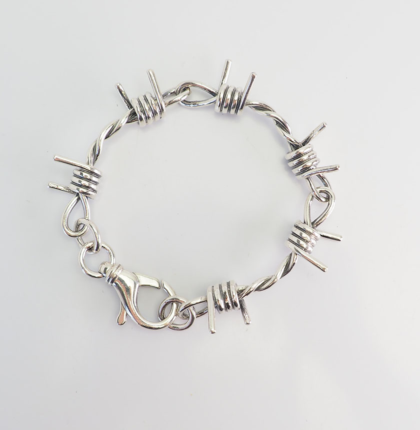 Details About Amazing Goth Biker Sterling Silver Designer Men Women Barbed Wire Bracelet